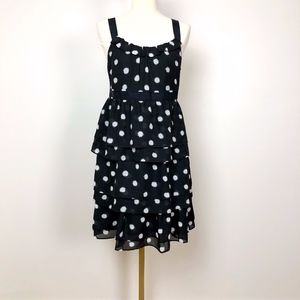 LOFT Black & White Dot dress w/ tiered ruffles